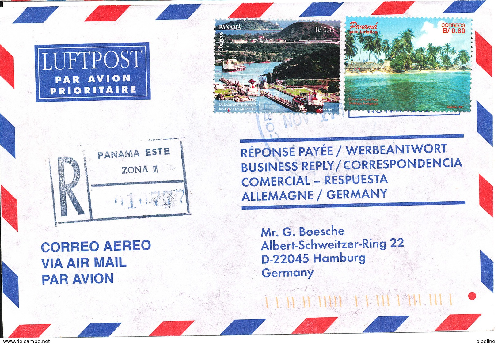 Panama Registered Air Mail Cover Sent To Germany 17-11-1997 - Panama