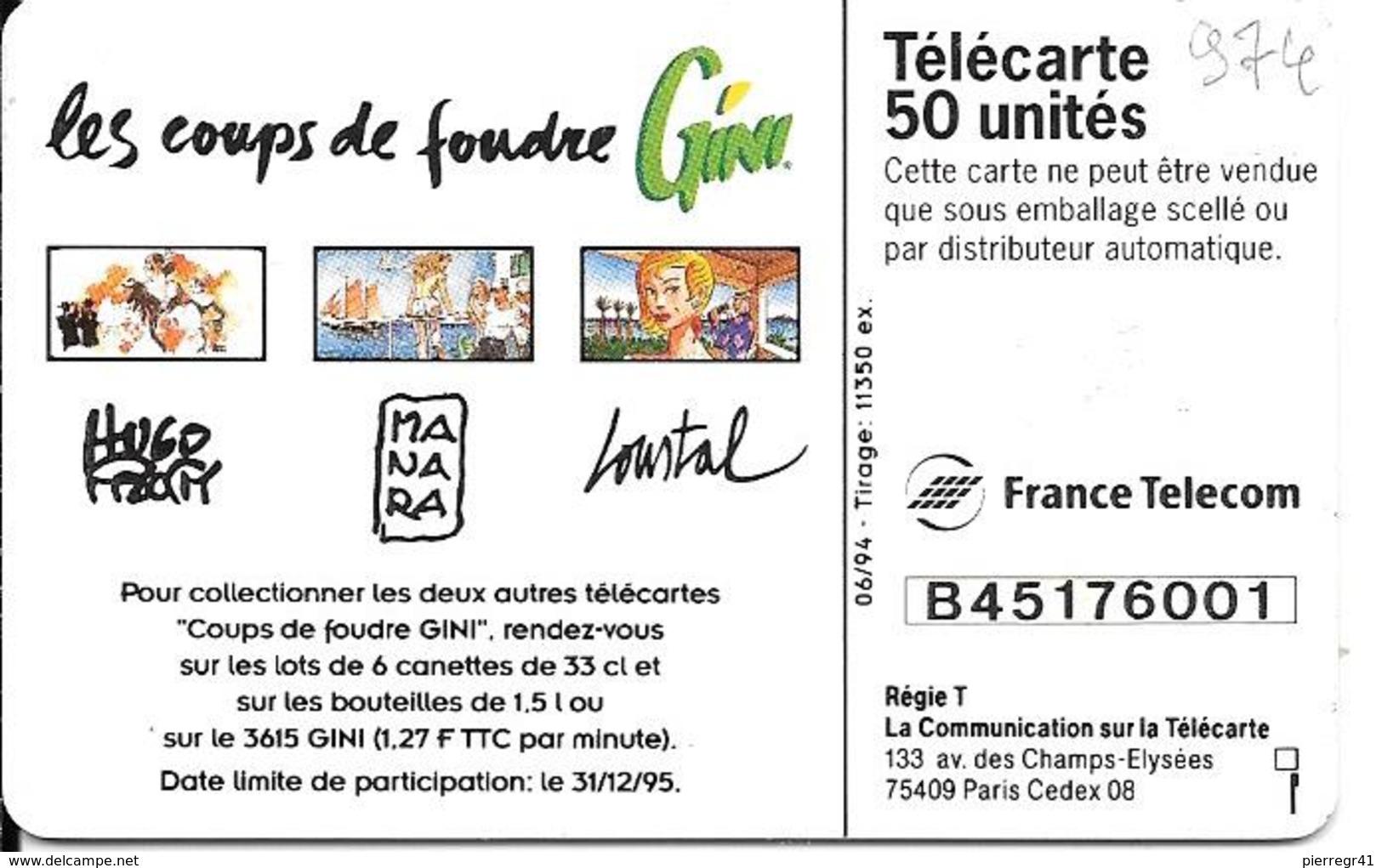 CARTE-PRIVEE-50U-EN 974-GEMA-06/94-GINI-MANARA-UTILISEE-TBE - France