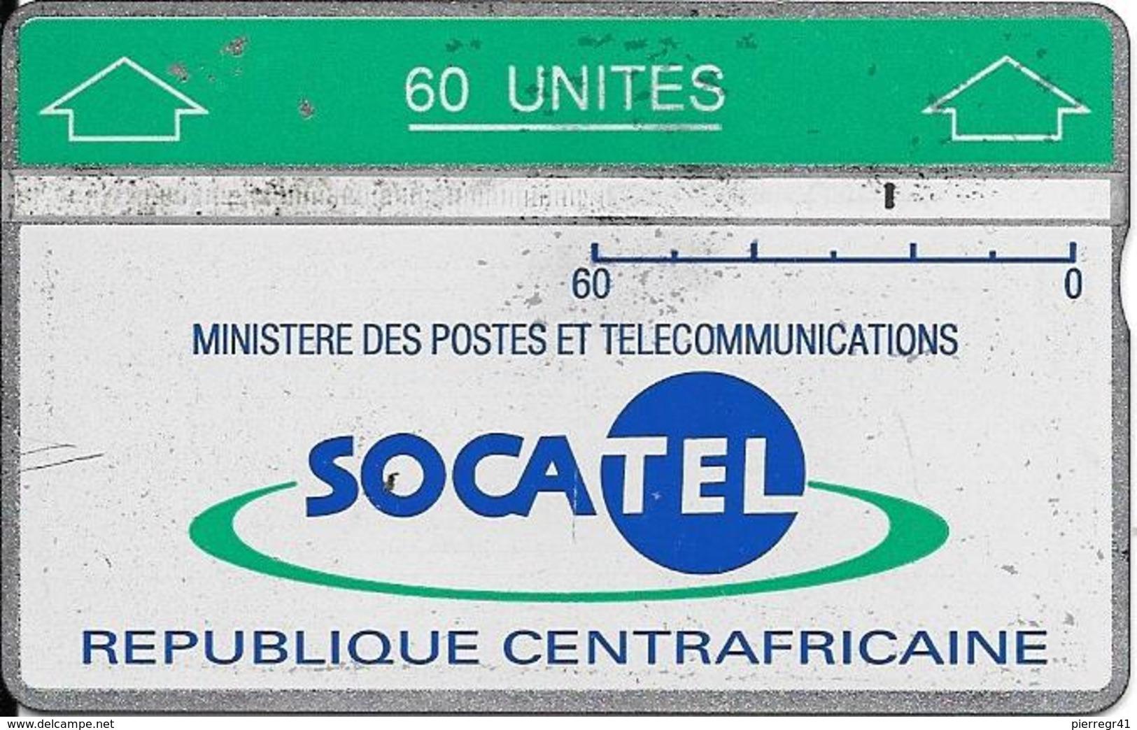 CARTE-HOLOGRAPHIQUE-CENTRE AFRIQUE-60U-SOCATEL-VERT°Envers 010E00824-BE - Centrafricaine (République)