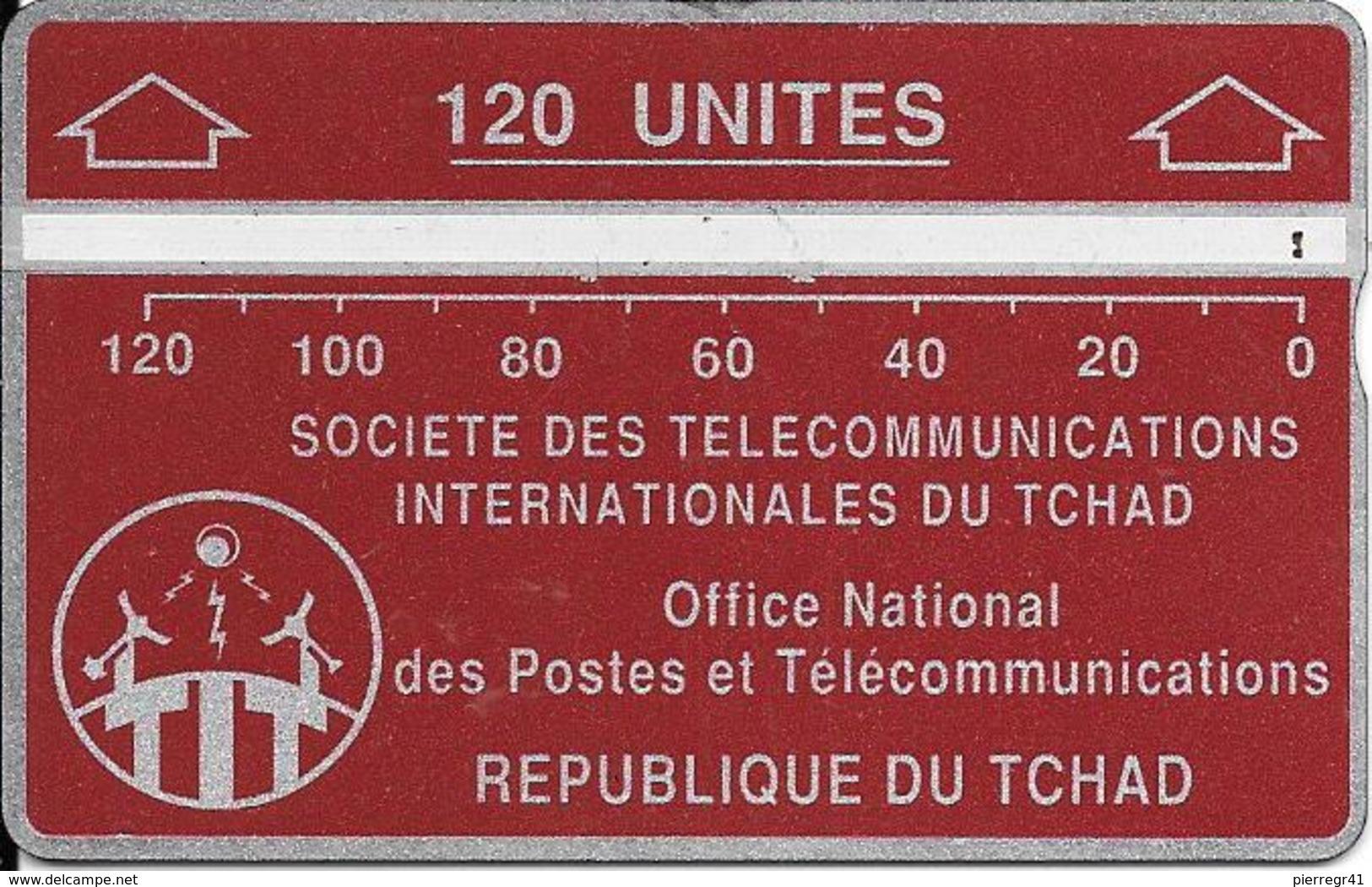 CARTE MAGNETIQUE-TCHAD-120U-ROUGE -GRENAT--V° N° En Bas A Droite Inversé 611C83390-TBE - Tchad
