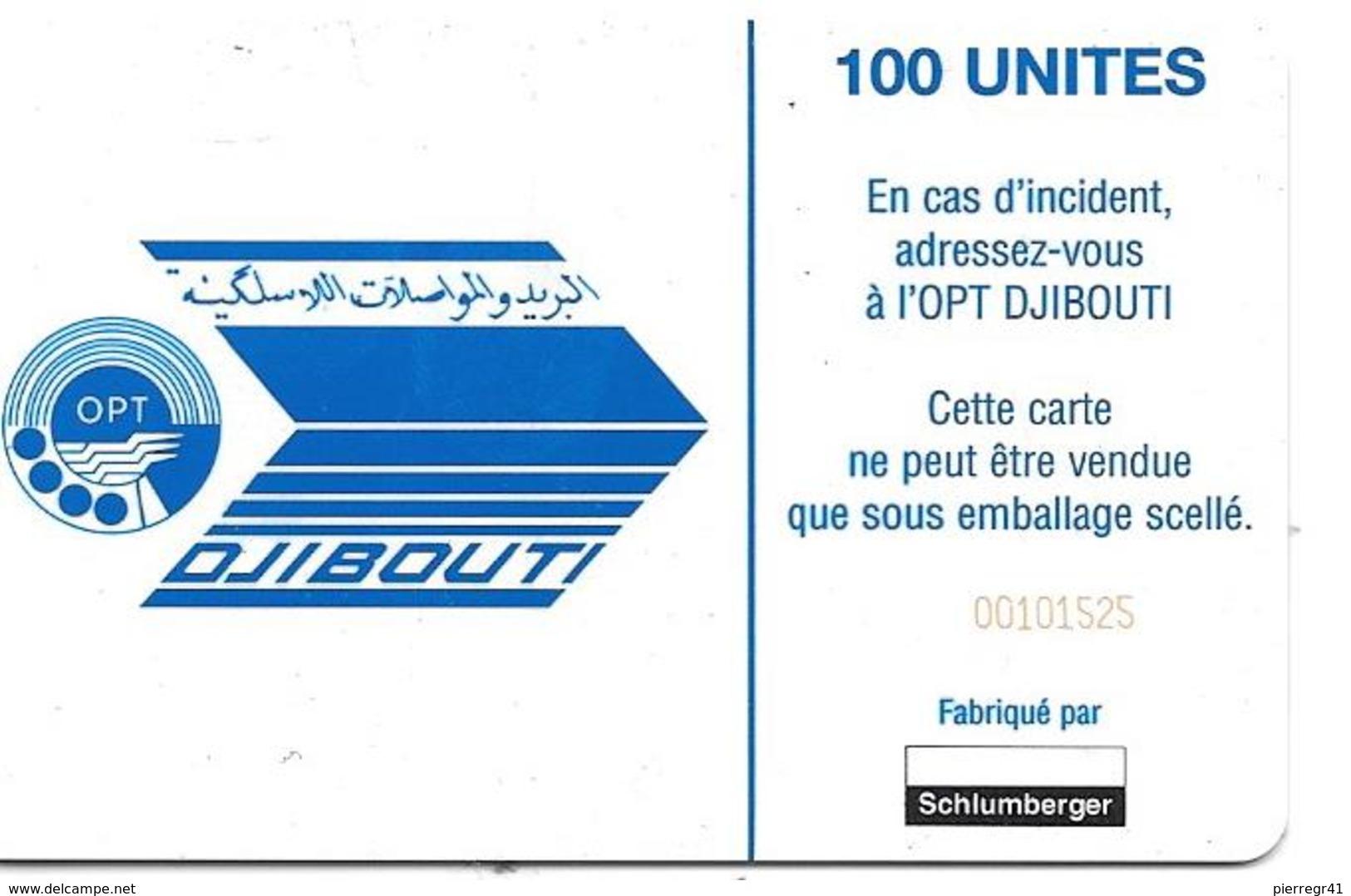 CARTE-PUCE-OPT-DJIBOUTI-1 00U--SC7-SCHLUM-V° N° Rge Etroits 00101525--LAC  SALE-UTILISE-TBE - Djibouti