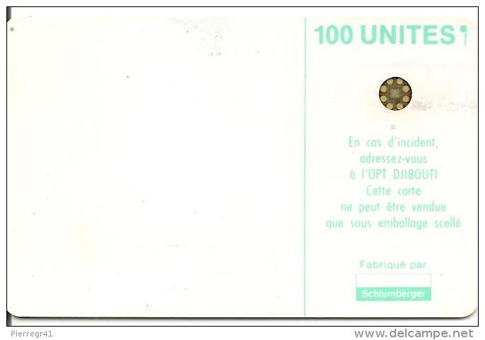 CARTE-PUCE-OPT-DJIBOUTI-100U--SC4-Trou 6mm-VERTE PALE-SCHLUM-V° N° 5 Ge 40220 1--0 Envers-UTILISE-TBE - Djibouti