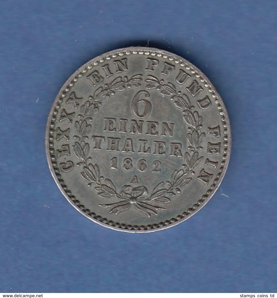 Herzogtum Anhalt Bernburg 1862  Ausbeute 1/6 Taler Bär Auf Mauer  - [ 1] …-1871 : Etats Allemands