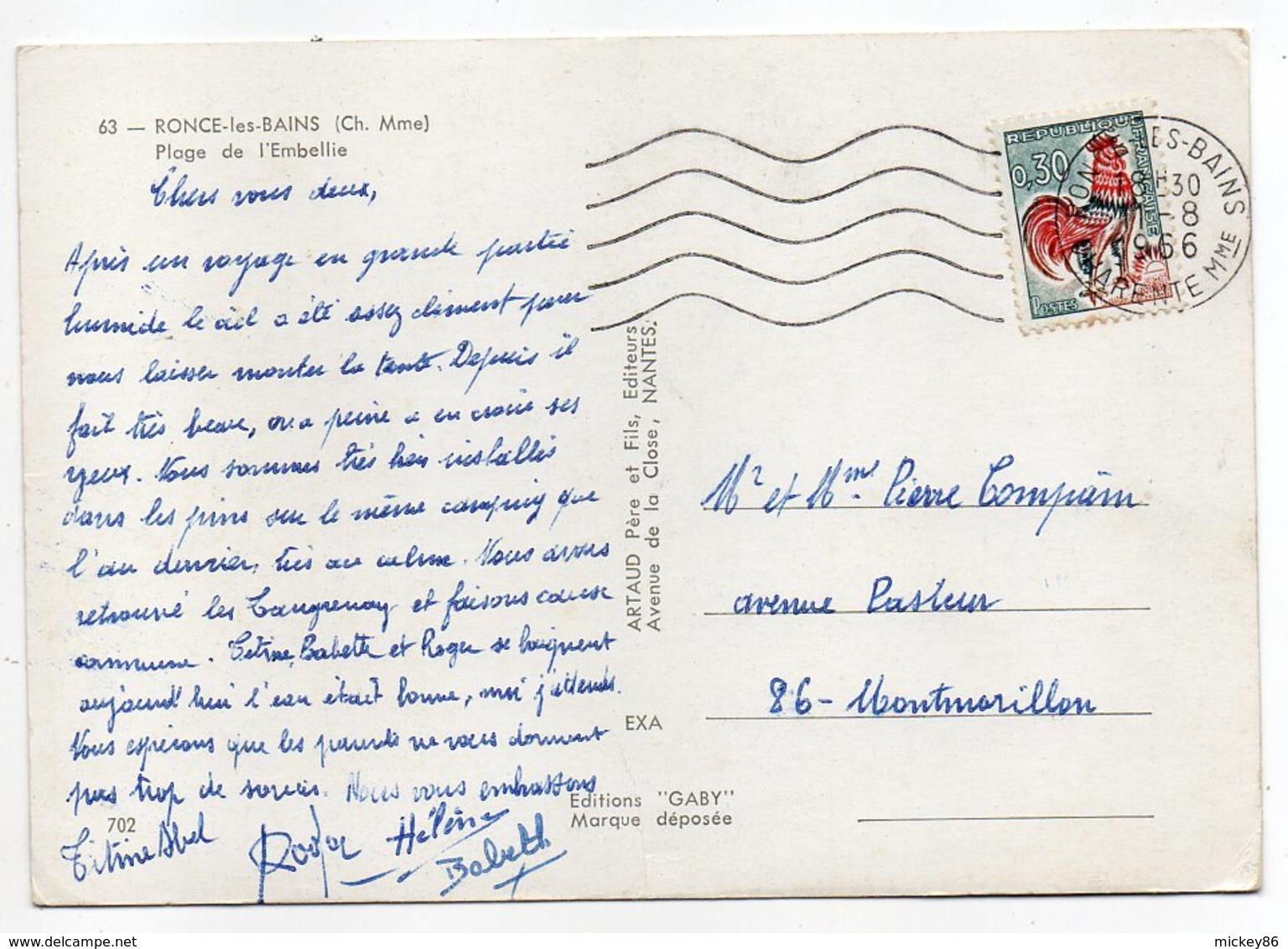 RONCE LES BAINS -- 1966--Plage De L'Embellie  (animée, Pubs MOTTA )--timbre ,cachet -- - Autres Communes