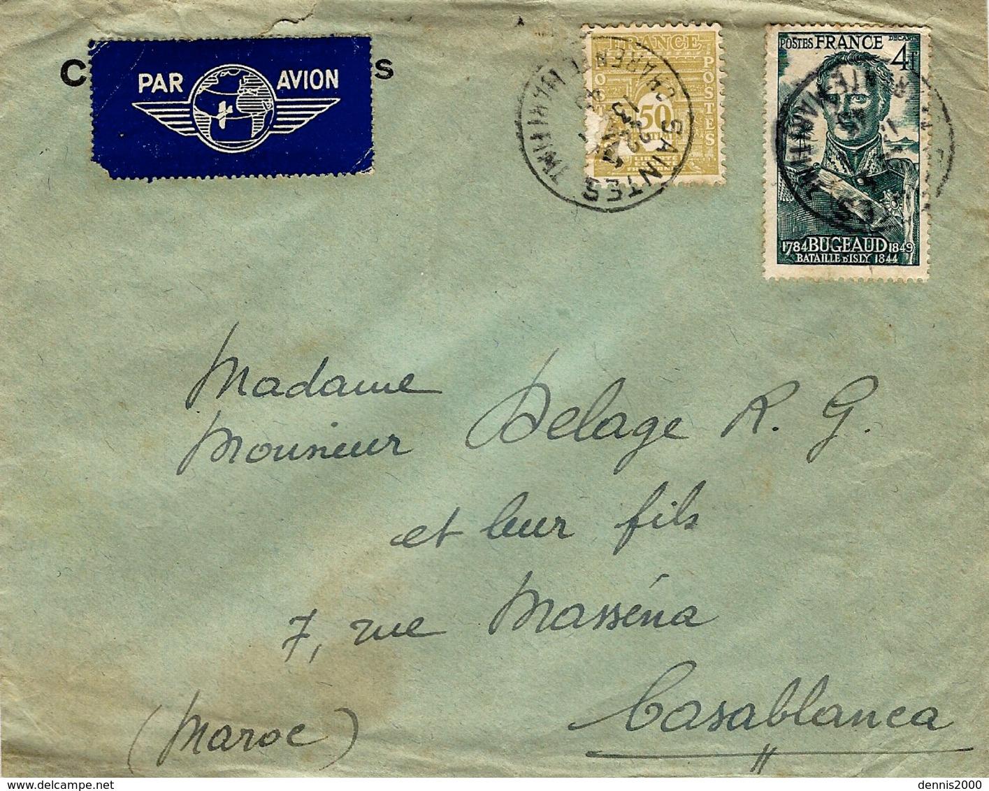 Janvier 1945- Enveloppe PAR AVION De Saintes ( Charente Maritime )pour Le Maroc Affr. Mixte à 4,50 F - Marcophilie (Lettres)