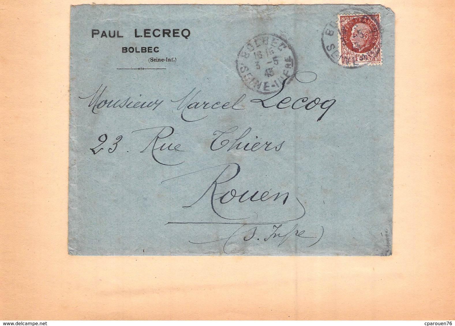 Enveloppe Publicitaire  PAUL LECREQ BOLBEC SEINE INFERIEURE 1943  76 TIMBRE - Alimentare