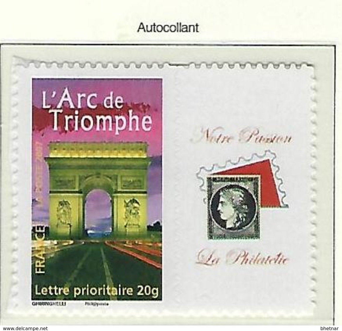"FR Personnalisés YT 3599B "" Arc De Triomphe, Adhésif "" 2007 Neuf** - France"