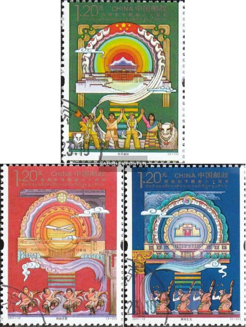 People's Republic Of Cina 4252-4254 (completa Edizione) Usato 2011 Liberazione Tibets - Usados