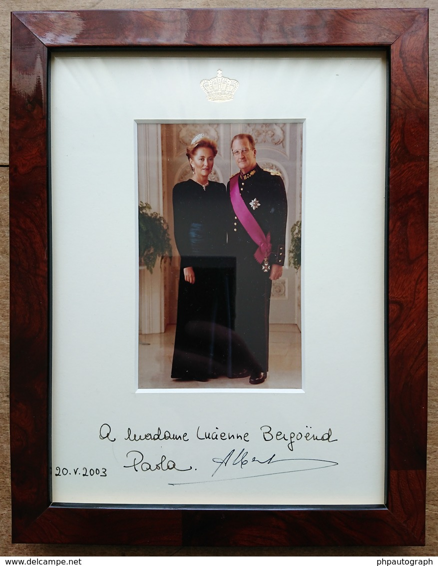 Albert II And Paola - King And Queen Of Belgium - Rare Signed Photo + Frame - Autographes