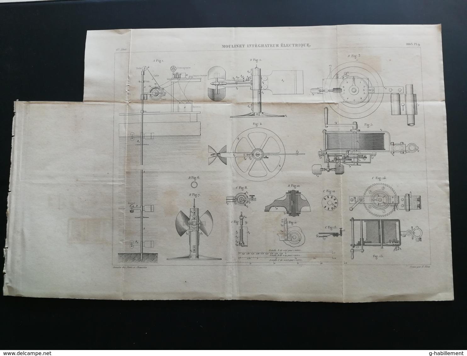 ANNALES DES PONTS Et CHAUSSEES - Plan D'un Moulinet Intégrateur électrique - Graveur E.Pérot 1883 (CLD63) - Machines