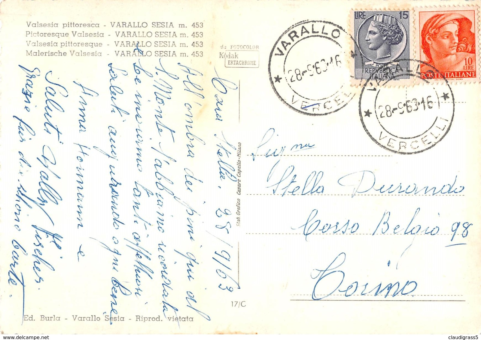 "0400 ""VALSESIA PITTORESCA - VARALLO SESIA (VC)"" CART. ORIG. SPED. 1963 - Altre Città"