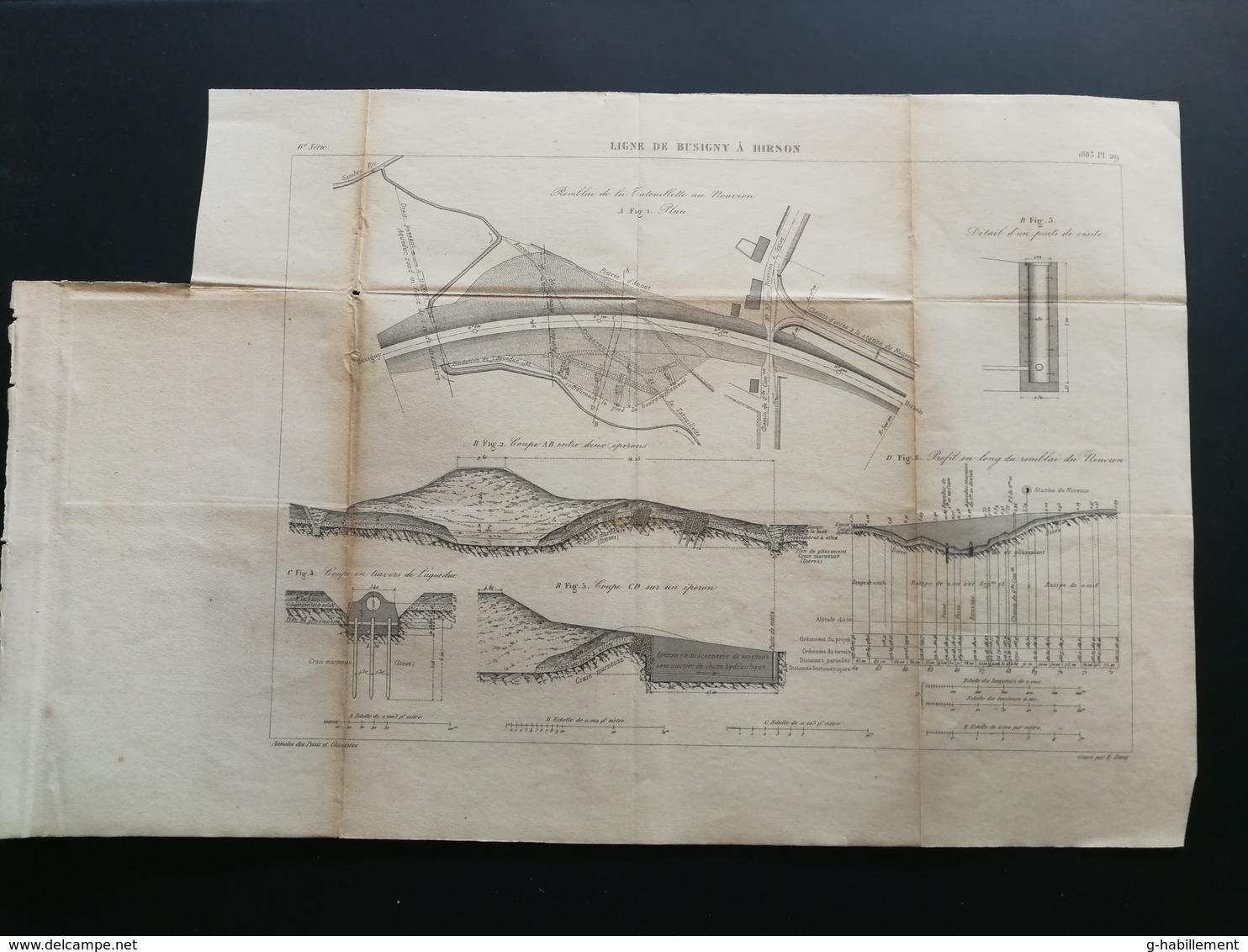 ANNALES DES PONTS Et CHAUSSEES (Dep 02) - Plan De La Ligne De Busigny à Hirson - Graveur E.Pérot 1883 (CLD67) - Cartes Marines