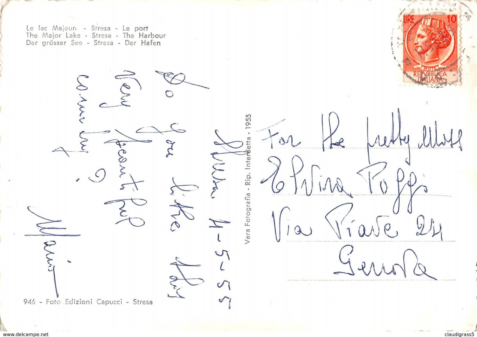 """0402 """"LAGO MAGGIORE - STRESA - IL PORTO"""" CART. ORIG. SPED. 1955 - Italie"""
