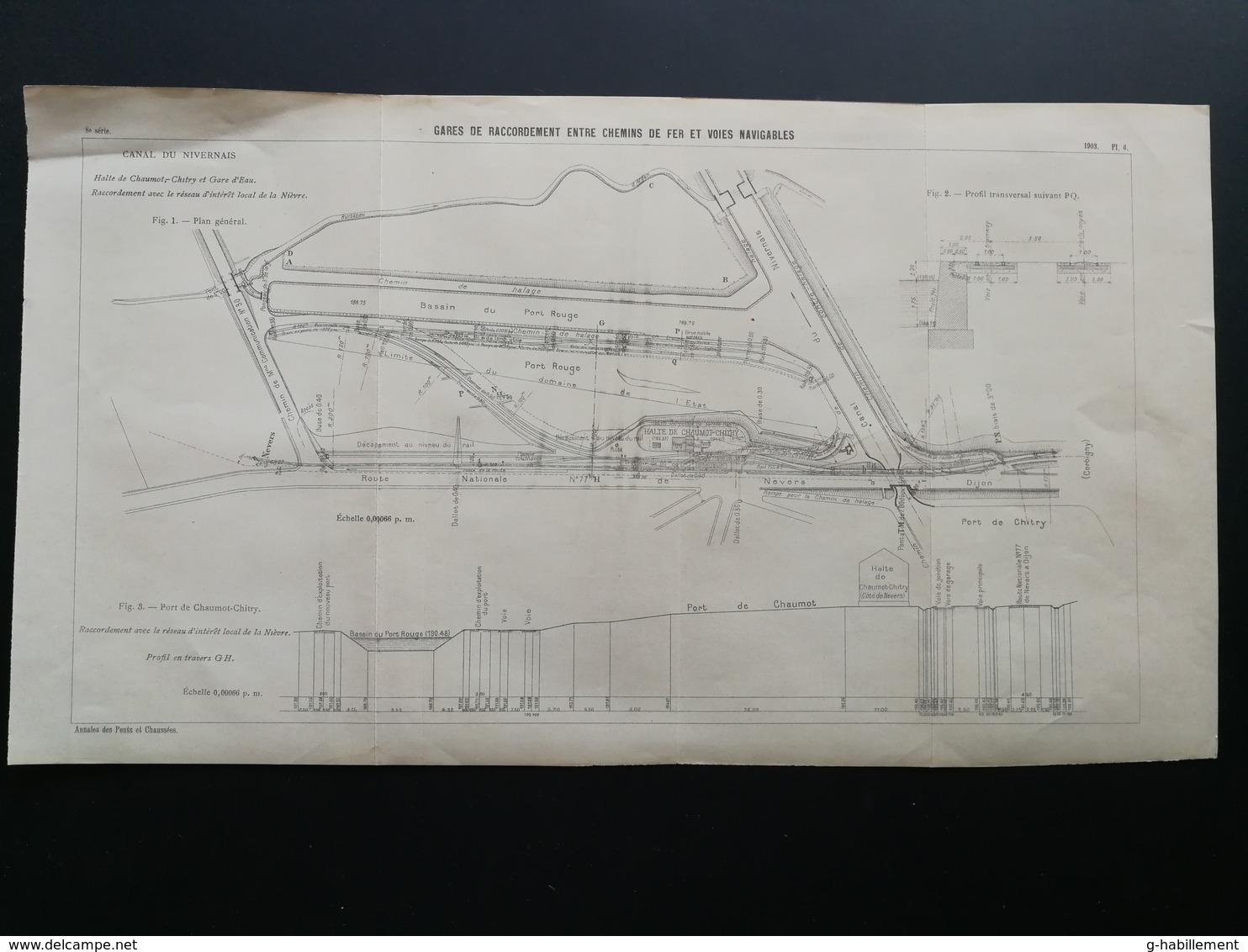 ANNALES DES PONTS Et CHAUSSEES - Plan Des Gares De Raccordement Entre Chemins De Fer Et Voies Navigables - 1903 (CLD73) - Máquinas