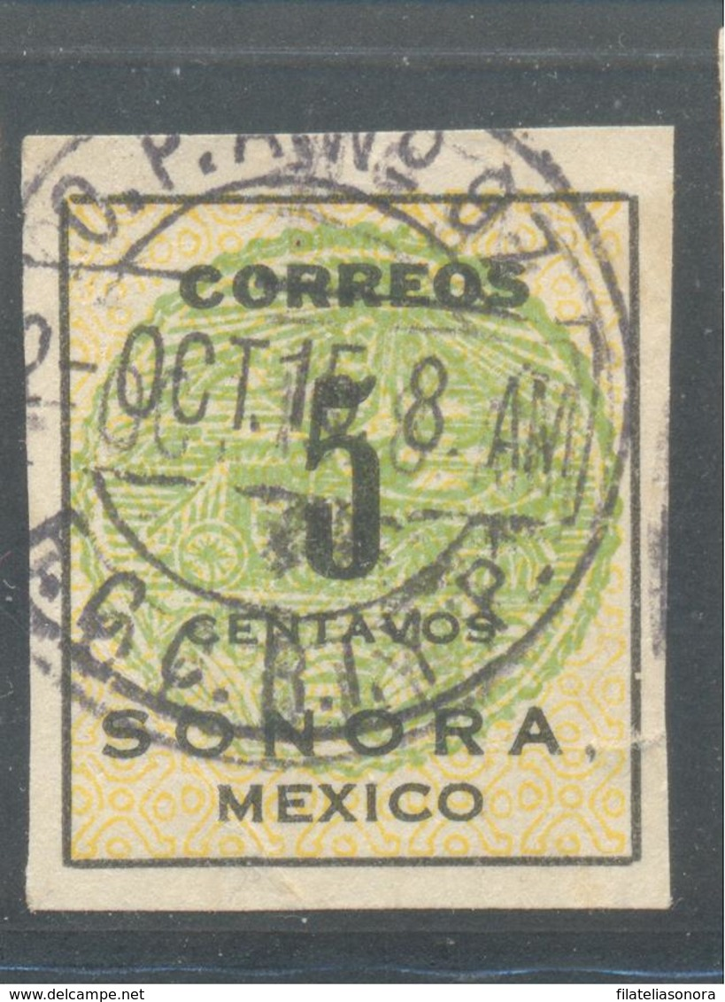 COACH SEAL SONORA 1914 REVOLUTION 5 CTS GREEN   USED STAMP CANCELED IN FERROCARRIL TRAIN OFFICE - Mexique