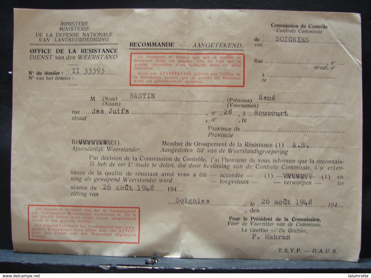 DH. 93. Document De Reconnaissance De Résistance Armé à Bastin René De Roucourt En 1948 - Documents