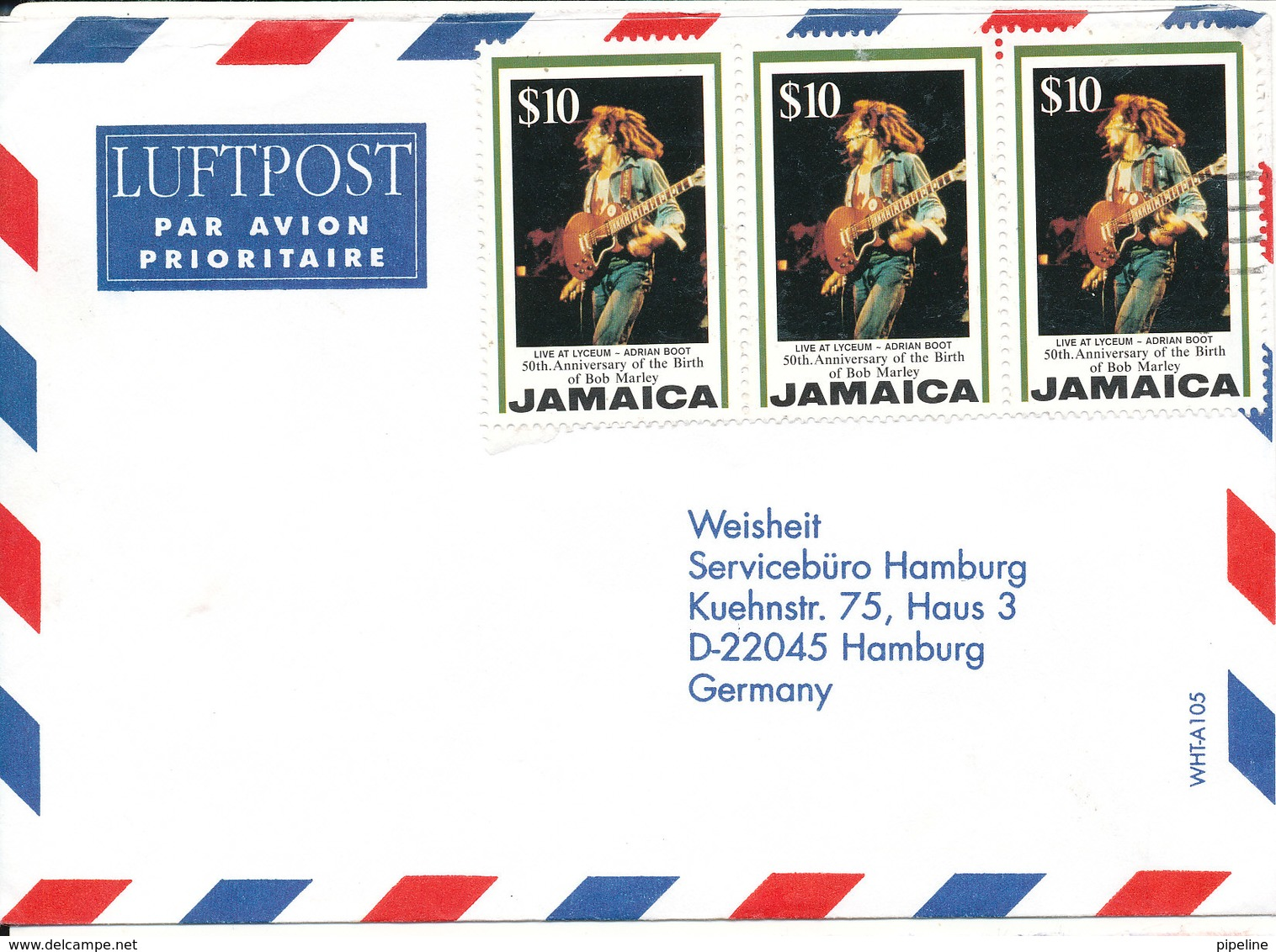 Jamaica Air Mail Cover Sent To Germany (50th Anniversary Of The Birth Of Bob Marley Stamps) - Jamaica (1962-...)