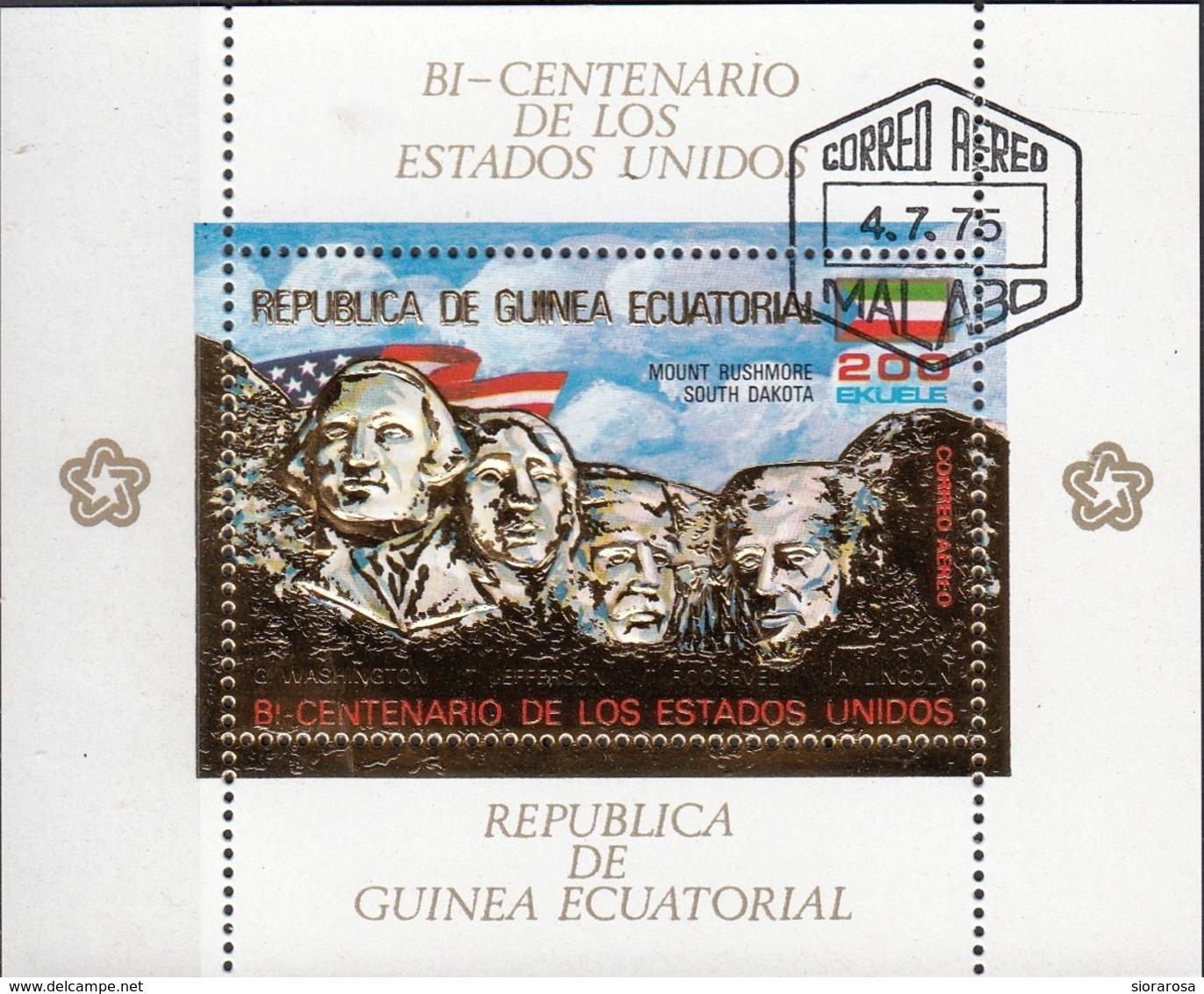 Guinea Equatoriale 1975 Bf. 179A Bicentenario Rushmore Dakota Lincoln Washington Ecuatorial Perf. CTO - Guinea Equatoriale