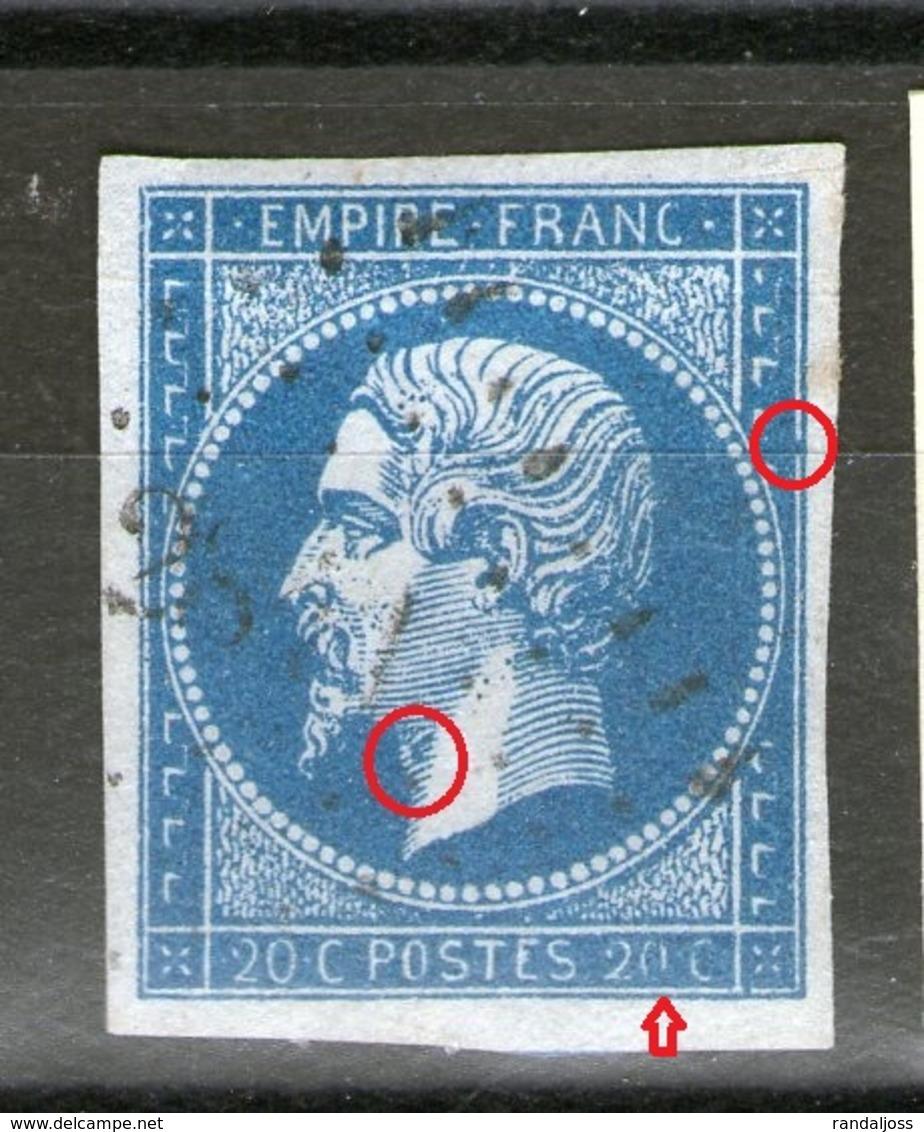 Variété Sur N°14°_pomme D'adam_liaison Filet_sans Point Vers 20 - 1853-1860 Napoleon III