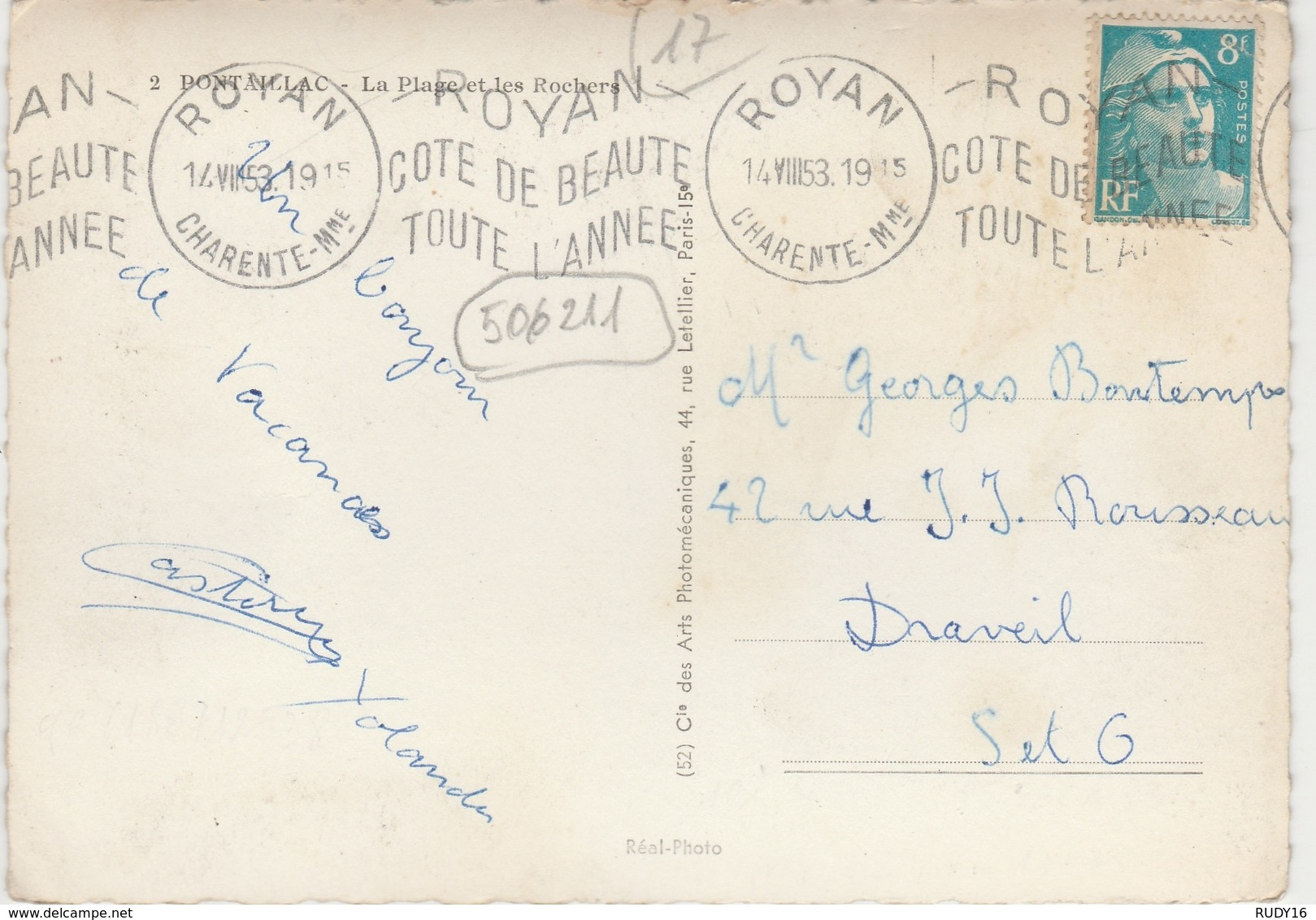 PONTAILLAC   -   LA PLAGE Et LES ROCHERS   -   Edition : C.A.P.  N° 2 - France