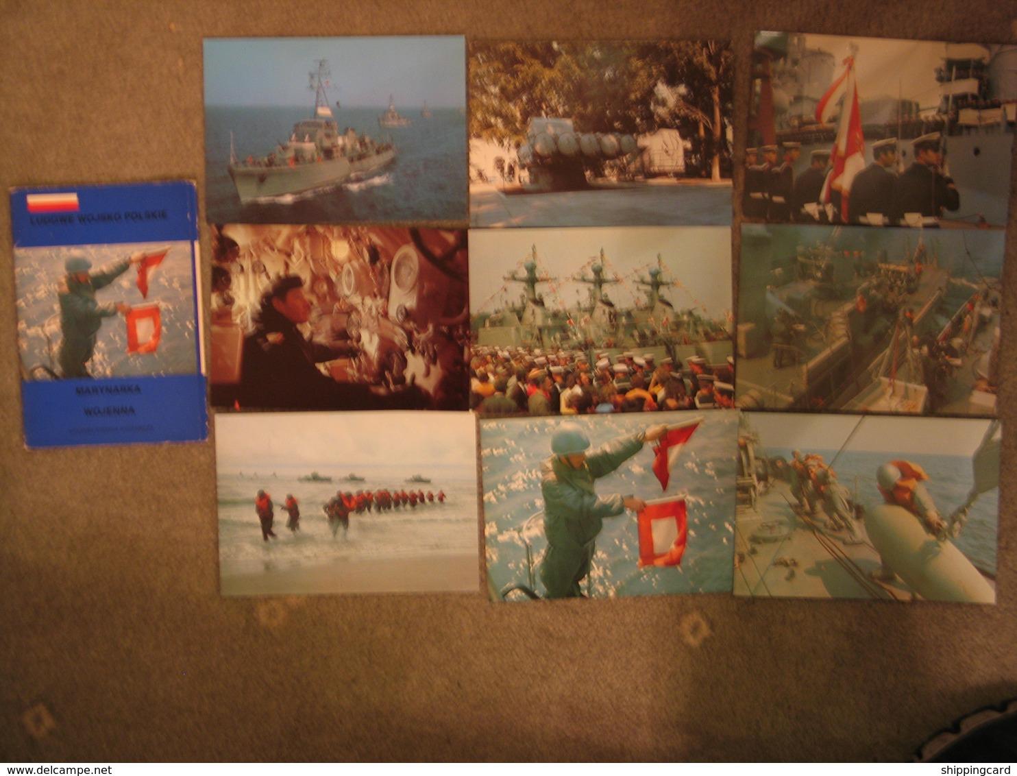 SET OF 9 POLISH WARSHIPS IN FOLDER - Warships