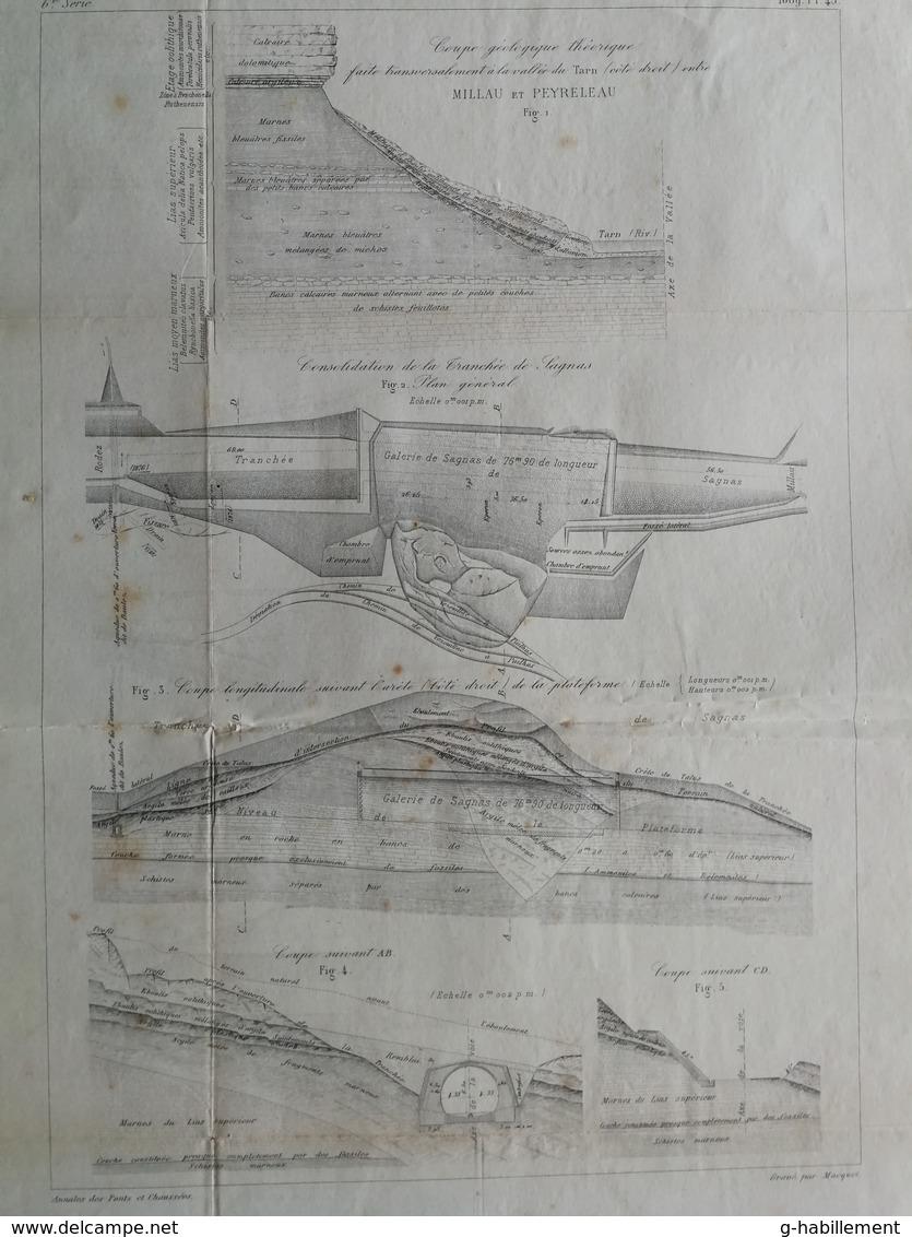 ANNALES DES PONTS Et CHAUSSEES (dep 12) -  Travaux De Consolidation Et De Drainage - 1889 - Macquet (CLD91) - Cartes Marines