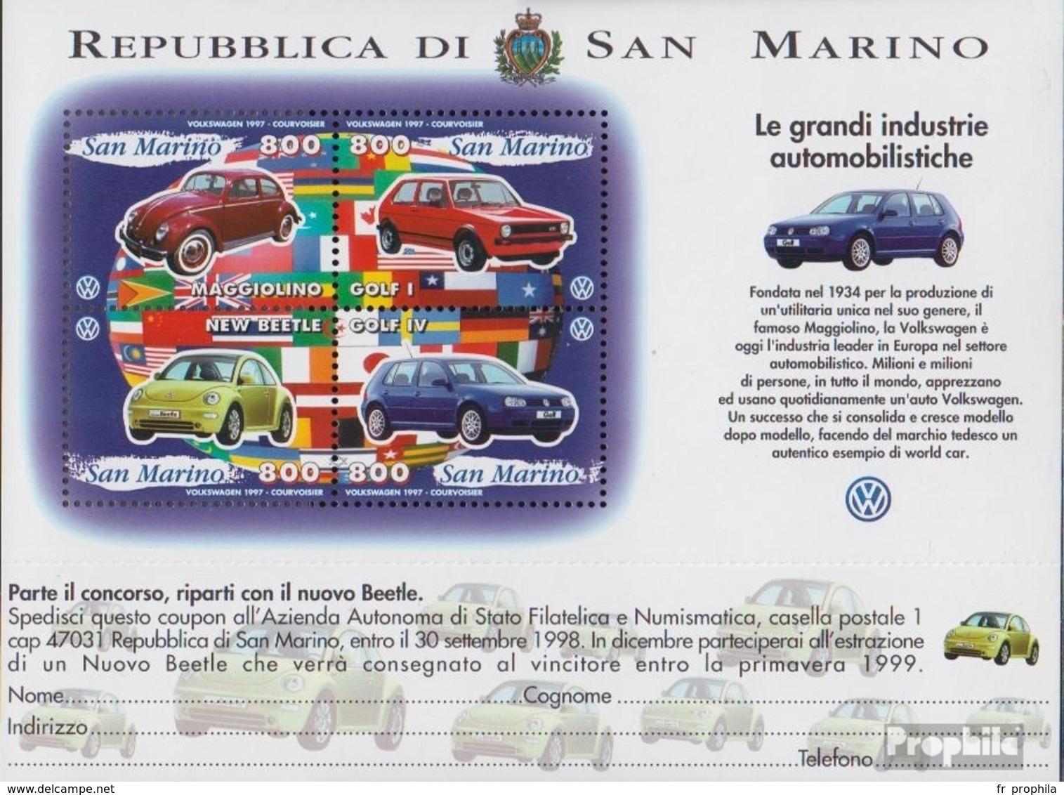 San Marin Bloc 23 (complète.Edition.) Neuf Avec Gomme Originale 1997 Constructeurs Automobiles - San Marino