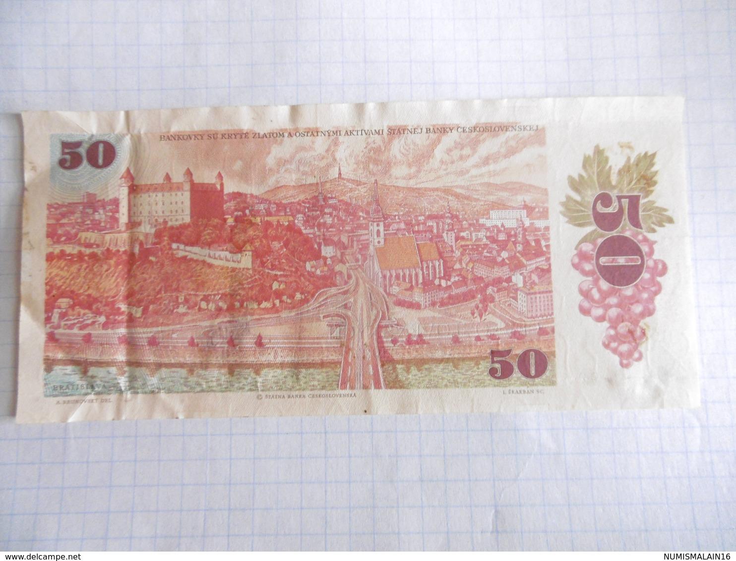 TCHECOSLOVAQUIE-BILLET DE 50 KORUN-1987-BIEN CIRCULE - Tchécoslovaquie