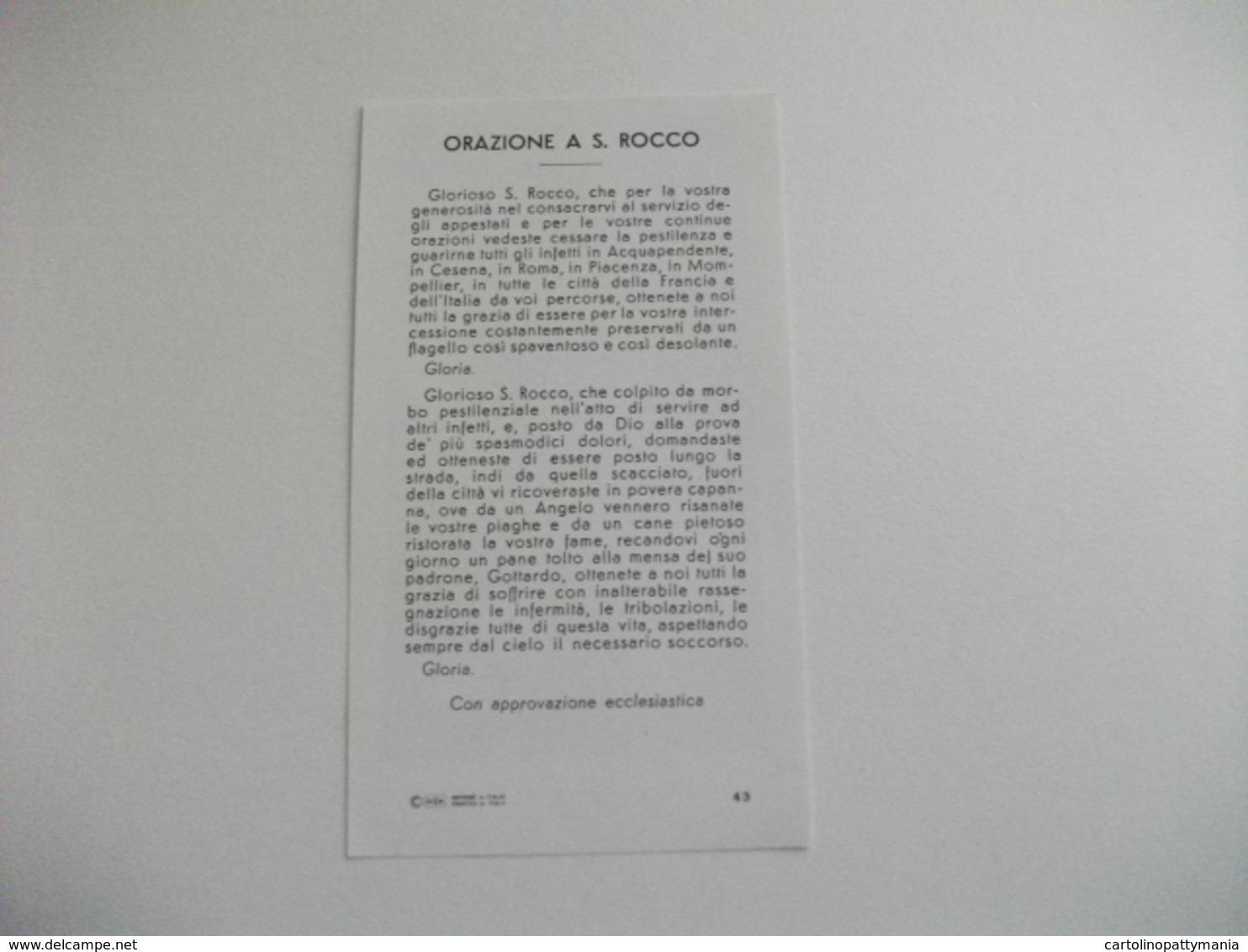 SANTINO HOLY PICTURE IMAGE SAINTE  SAN ROCCO ORAZIONE - Religione & Esoterismo