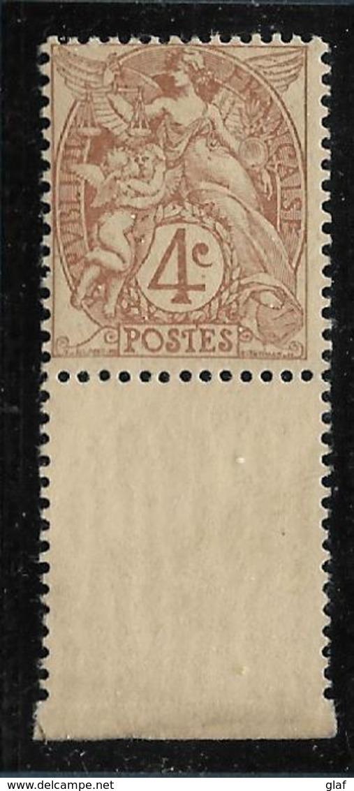 Type Blanc : 4 C Brun  Type 1 Bas De Feuille – Neuf Sans Charnière - 1900-29 Blanc