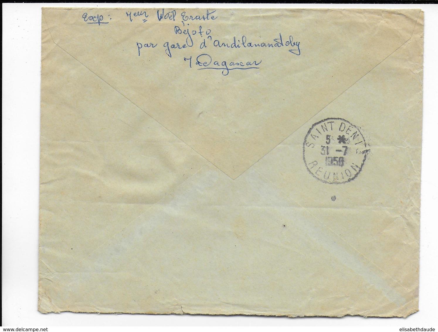1958 - MADAGASCAR - ENVELOPPE Par AVION RECOMMANDEE De MANAKAMBAHINY ! => ST DENIS REUNION - Madagascar (1889-1960)