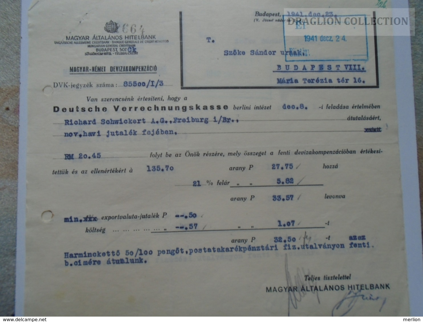 ZA192.6 Magyar Általános Hitelbank - Magyar- Német Devizakompenzáció 1941 Budapest - Facturas & Documentos Mercantiles