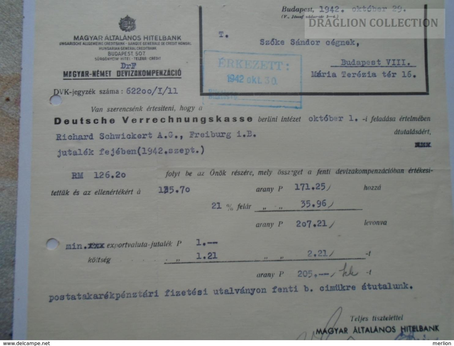 ZA192.7 Magyar Általános Hitelbank - Magyar- Német Devizakompenzáció 1942 Budapest - Facturas & Documentos Mercantiles