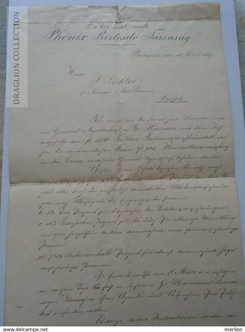 ZA192.11 PHÖNIX Biztosító Társaság Budapest - Herrn J. Lichter -Siófok  1887  -Insurance - Rechnungen