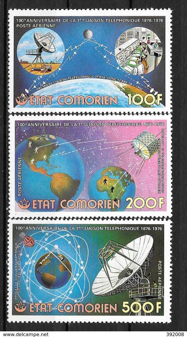 PA - 1976 - N° 104 à 106*MH - 100 Ans De La Première Liaison Téléphonique - Comores (1975-...)