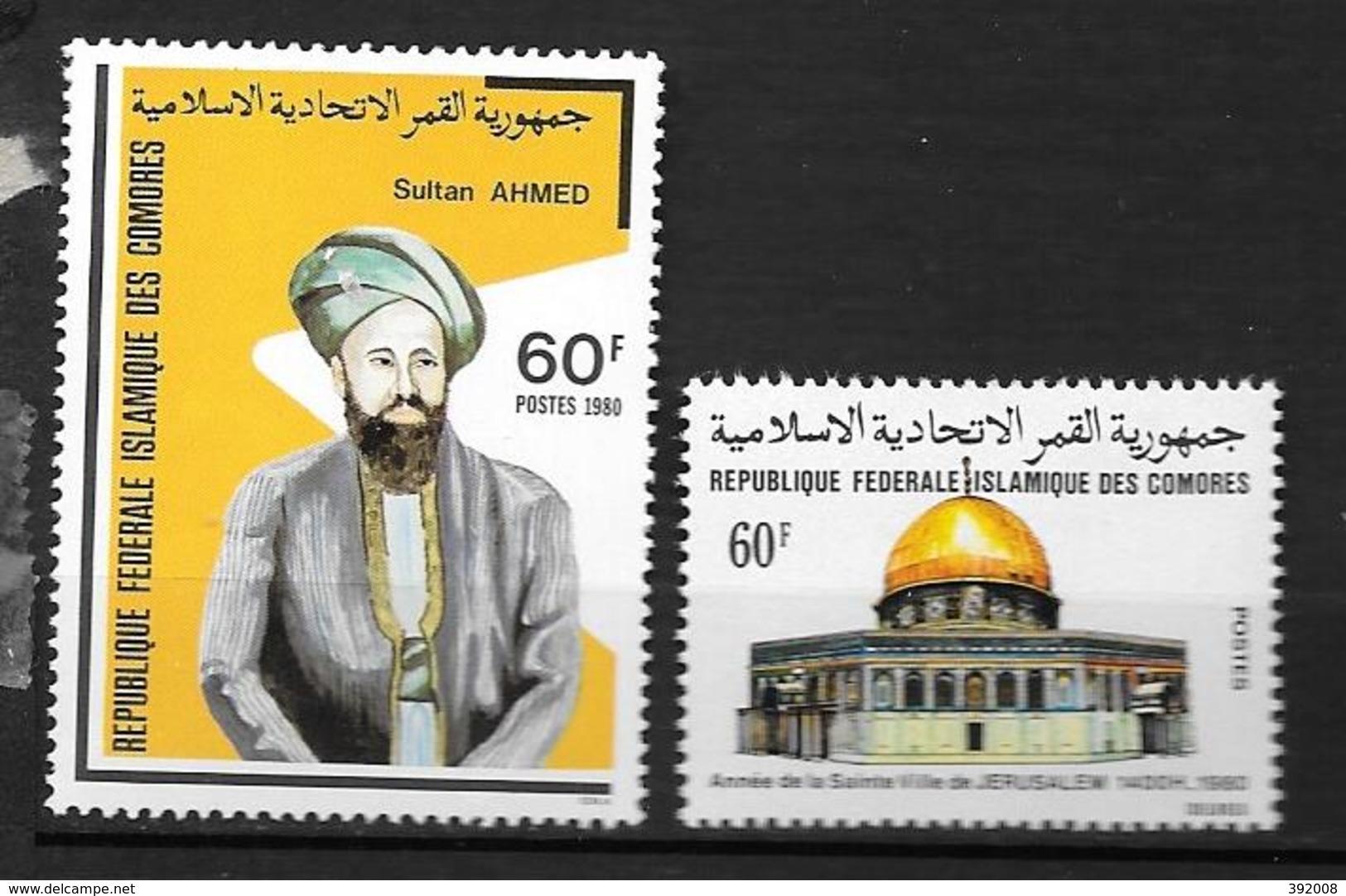 1980 - 327 à 328**MNH - Sultan Said Ali - Année De La Sainte Ville De Jérusalem - Comores (1975-...)