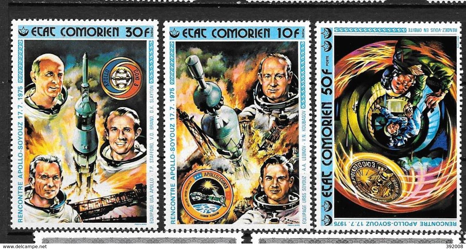1976 - N° 130 à 132**MNH - Coopération Spatiale USA - URSS - Comores (1975-...)