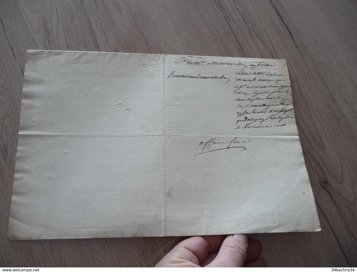 Pièce Signée Autographe Sur Papier Versailles 13/03/1769 Pension D'invalides De Monterbau - Autógrafos