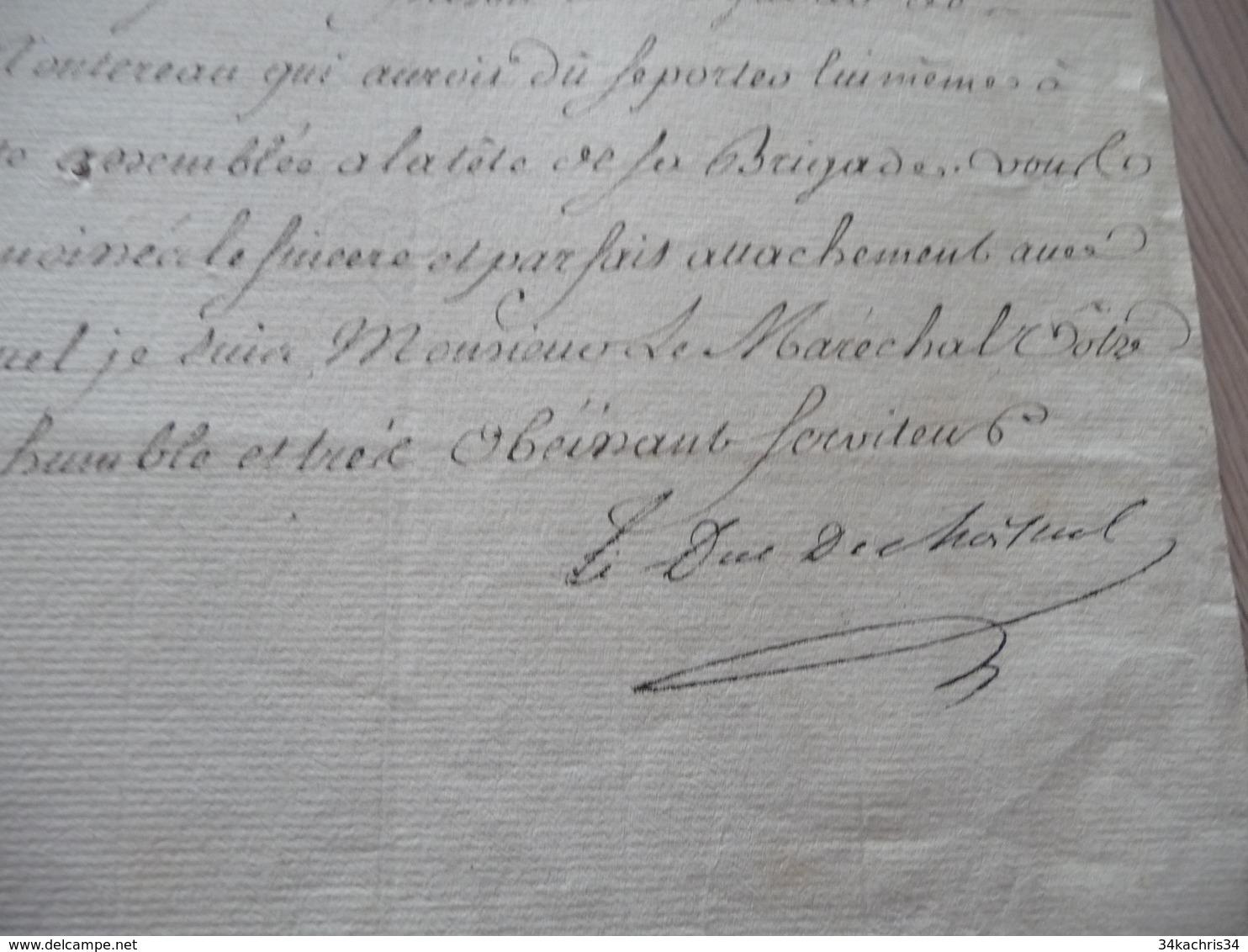 Pièce Signée Autographe Sur Papier Versailles 02/06/1764 Rébellion Prison De Montereau - Autógrafos