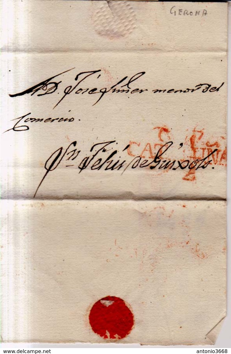 Prefilatelia Año 1841 Aprox  Carta Gerona A San Feliu Guixols Marca Nº11 G17 Cataluña - Spain
