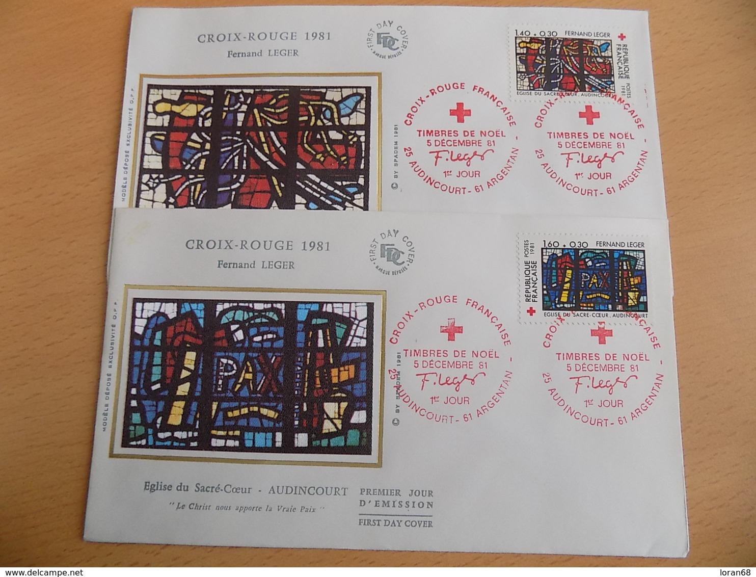 FDC (2) France : Croix Rouge 1981, Fernand Leger - Audincourt Et Argentan 05/12/1981 - FDC
