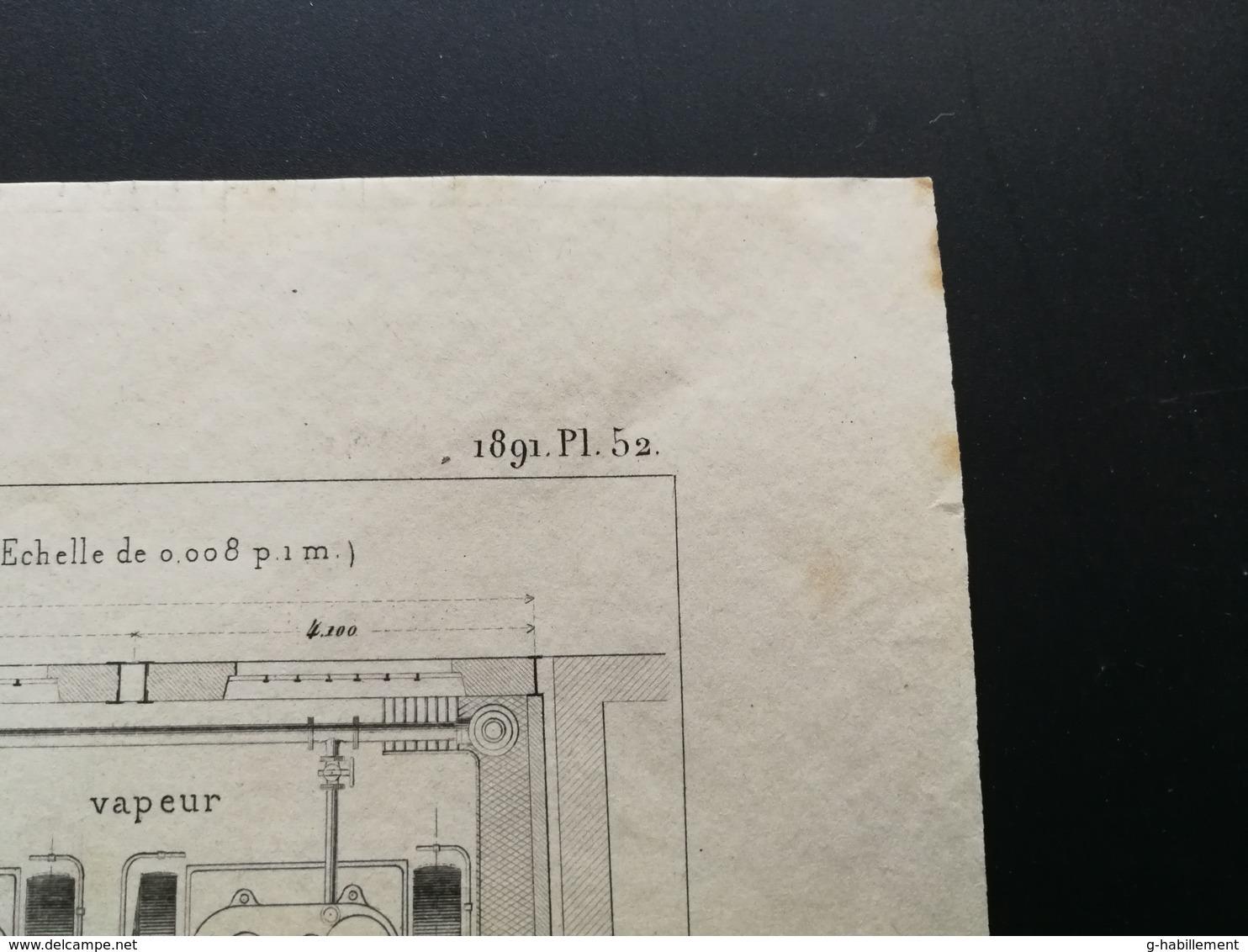 ANNALES DES PONTS Et CHAUSSEES (Dep 69) - Plan D'Eclairage électrique De La Gare De L'Est - Graveur Macquet 1891 (CLE58) - Machines