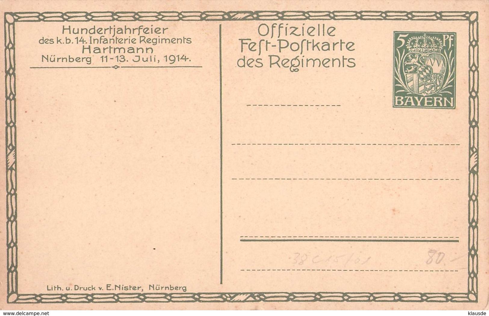 PP38 C16/01 Nürnberg Hundertjahrfeier Des K.b.14 - Bayern