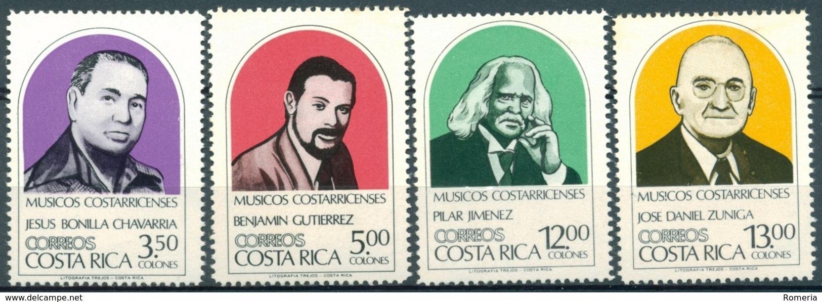 Costa Rica - 1984 - Yt 381/384 - Musiciens Costaricains - ** - Costa Rica