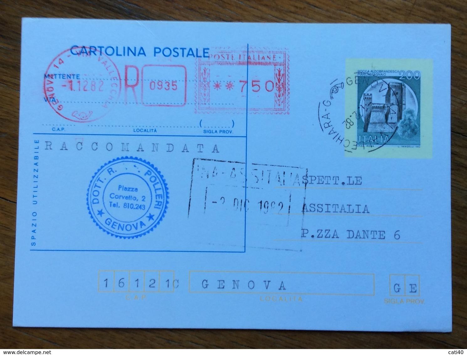 CARTOLINA POSTALE CASTELLI L.200 RACCOMANDATA ASSOLTA CON TARGHETTA ROSSA L.750 - 6. 1946-.. Repubblica