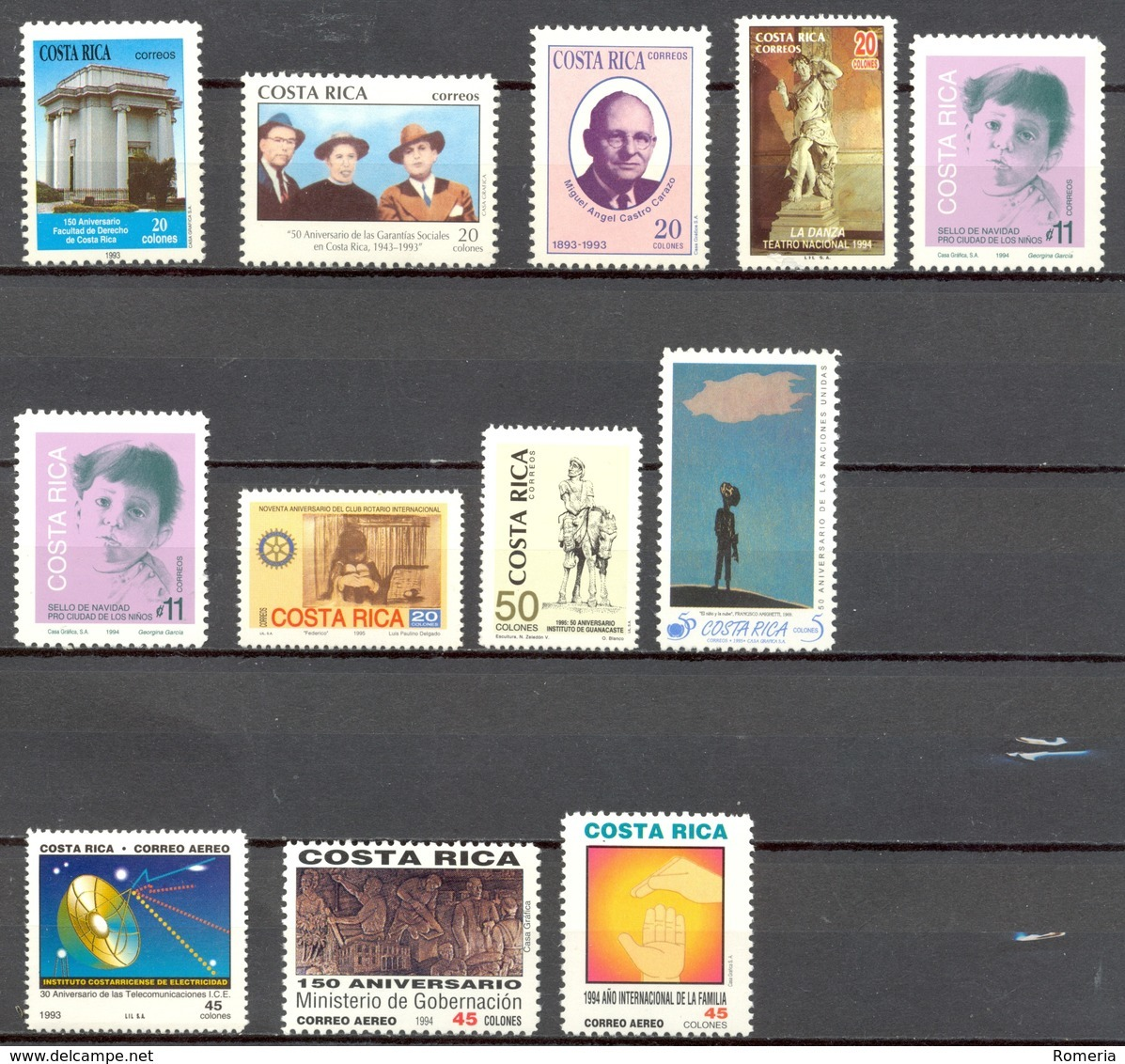 Costa Rica - 1993 - > 1995 - Lots Timbres Et Poste Aérienne - **  - Nºs Dans Description - Costa Rica