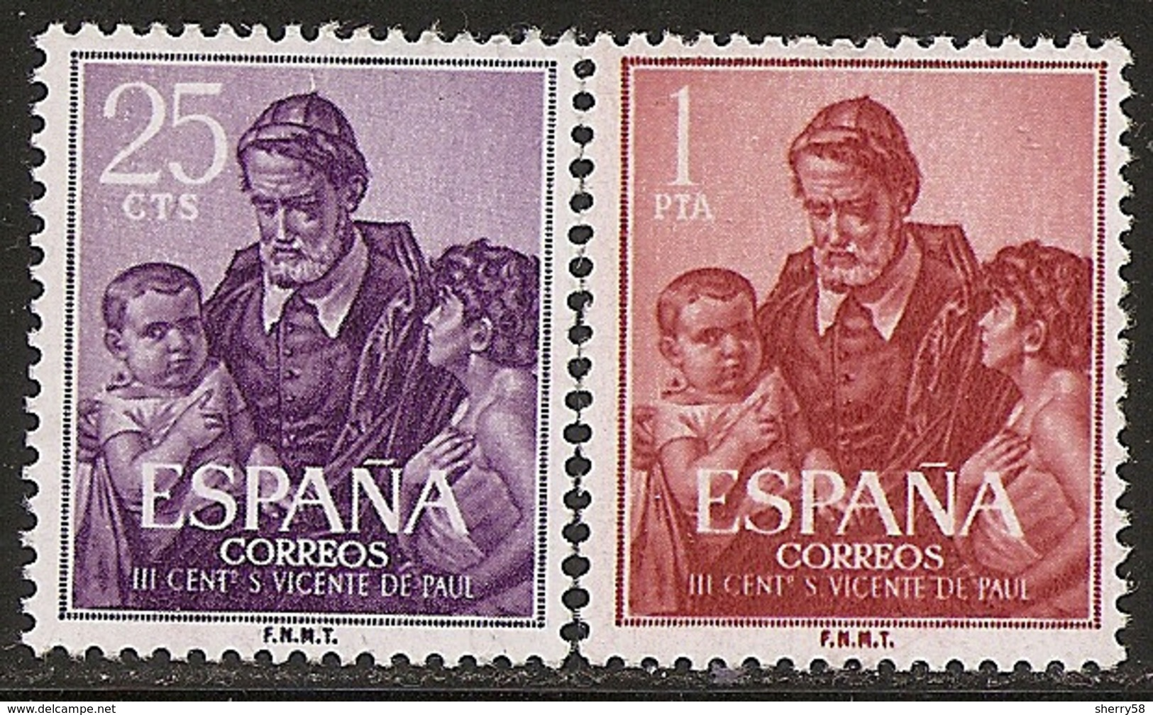 1960-ED. 1296 Y 1297-III CENT. MUERTE S. VICENTE DE PAÚL-NUEVO - 1931-Hoy: 2ª República - ... Juan Carlos I