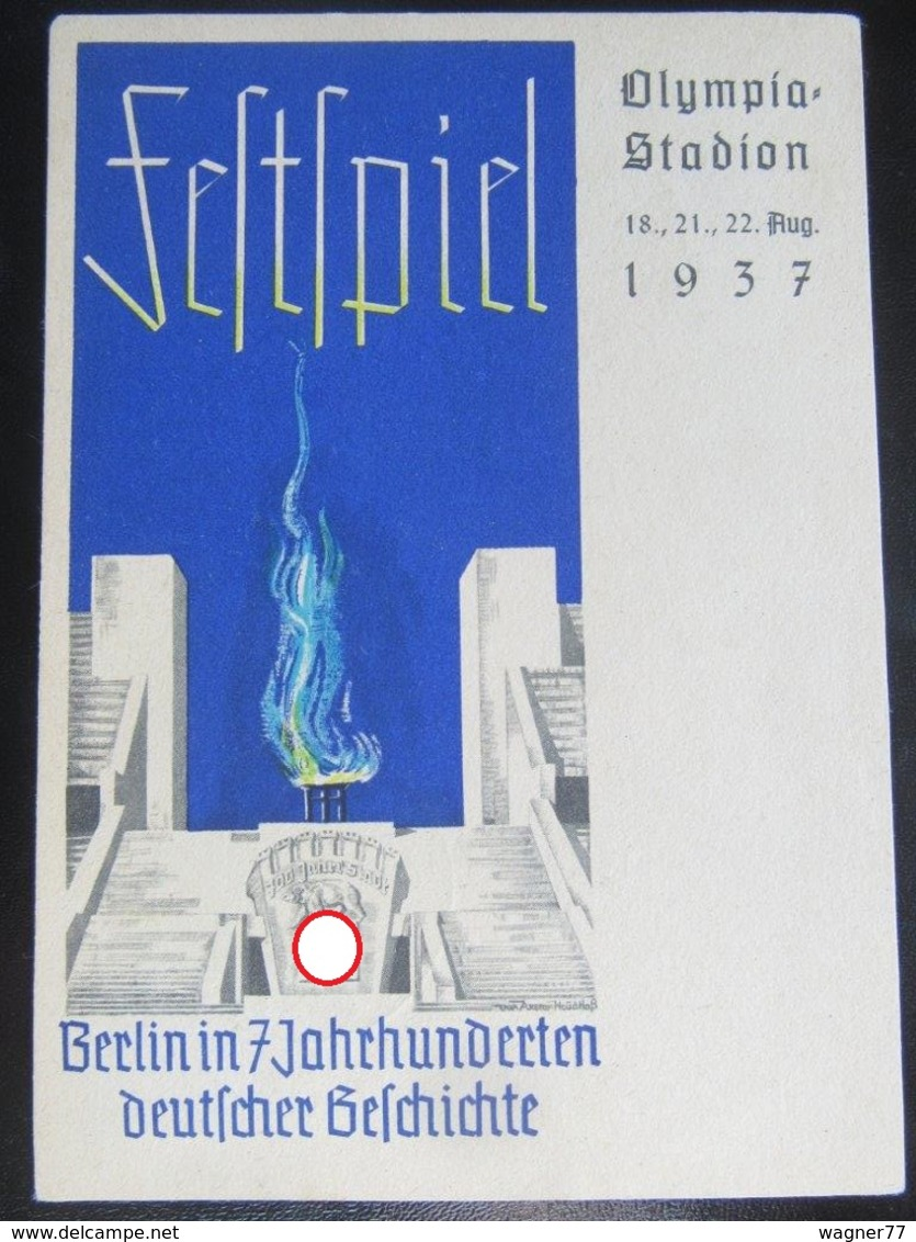 Postkarte Propaganda - Festspiel Berlin Olympia Stadion 1937 - Briefe U. Dokumente