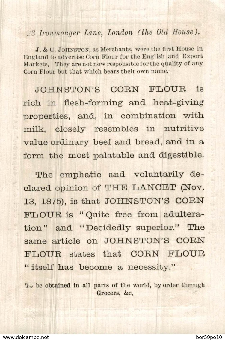 CHROMO JOHNSTON'S CORN FLOUR QUITE FREE FROM ADULTERATION  IS DECIDEDLY SUPERIOR  LANCET - Chromos