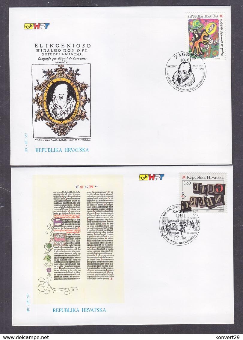 Croatia 1997 Miguel De Cervantes & Johannes Gutenberg FDC - Croatie